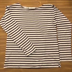 Everlane Boxy Burgundy and White Stripe Top